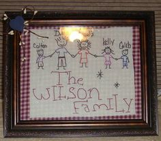 Family holding hands primitive picture $20