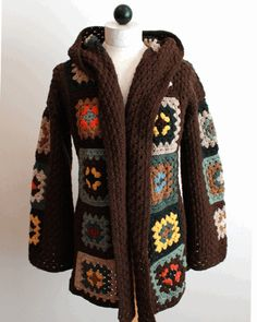 Maggie's Crochet · Scrap Granny Hooded Jacket Crochet Pattern, but FREE vintage pattern for almost the exact same jacket is here http://web.archive.org/web/20011118072355/http:/www.cei.net/~vchisam/groovy/10-hooded.html