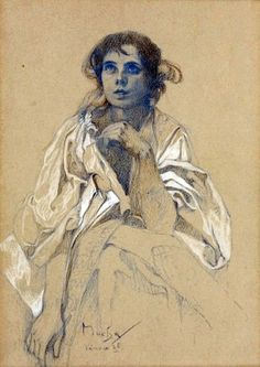 I've never seen this Mucha image. Love it. Jaroslava, 38 x 30 cm, signé Mucha.