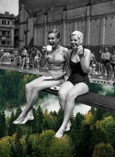 """Tea Time"" by Merve Ozaslan #collage #art #digitalart #color #vintage #nature #surreal #blackandwhite #street"