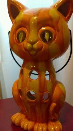 Inarco MCM Ceramic Orange MARBLE EYE HALLOWEEN Cat Hanging Candle  Lantern Japan