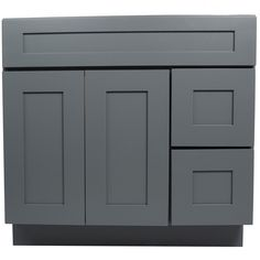 36 inch bathroom vanity single sink cabinet in shaker gray with soft close drawers u0026 doors