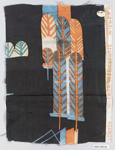 """http://www.metmuseum.org/Collections/search-the-collections/210006707?rpp=20=4=wiener+werkst%c3%a4tte=80    """"Romulus"""" Textile Sample     Maria Likarz  (Austrian, 1893–1971)   Manufacturer: Wiener Werkstätte"""