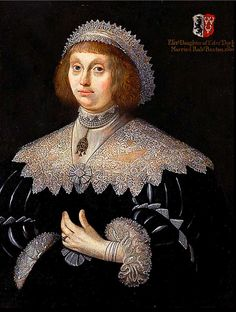 Margaret Conyers   or Mrs John Buxton of Tibbenham, painted at or about 1640 is wearing a confection in lace. She seems to be wearing a lace edged coif, folded back to show off her hair