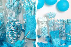 Candy buffet at a Blue Baby Shower #babyshower #blue