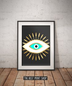 Evil eye gold foil print, geometric bohemian poster, black gold turquoise wall art, evil eye, Spiritual Art, printable instant download