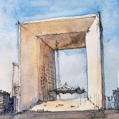 Juan Carlos Figuera (@jc_figuera) в Instagram: Grand Arche de La Défense, Paris. #aquarell #art #painting #watercolor #watercolour #sketch #paint #drawing #sketching #sketchbook #travelbook #archisketchery #sketchaday #sketchwalker #sketchcollector #traveldiary #topcreator #usk #urbansketch #urbansketchers #скетчбук #скетч #скетчинг #pleinair #aquarelle #watercolorsketch #usk #architecture #painting #illustration