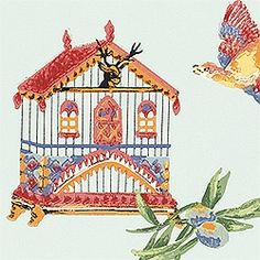 BIRDCAGE, Blue, T3121, Collection Spring Lake from Thibaut