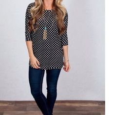 ❣SALE❣Polka Dot 3/4 Sleeve Top Comfort & style all in one! This tunic tee is a must have! Dress it up with your favorite pencil skirt, or dress it down with your favorite skinny jeans. High quality poly/spandex blend, the perfect addition to your spring wardrobe. Worn once. Tops Tunics