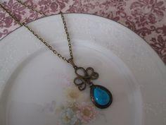 Vintage Turquoise Gemstone Charm Pendant Necklace, Antique Brass, Vintage Jewel, Pear, Drop, Costume Jewelry, Nickel Free. $22.00, via Etsy.