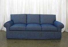 1200 Series RJ sofa covered in a blue Greek Key pattern.