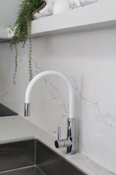 Dorf Vixen Kitchen Sink Mixer in White. Laundry Powder, Laundry Room, Three Birds Renovations, White Sink, Black Rock, Moana, Vixen, Taps, Kitchen Sink