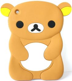 """Amazon.com: Brown, Yellow, and White {Cute Cartoon Teddy Bear} Soft and Smooth Silicone Cute 3D Fitted Bumper Back Cover Gel Case for iPad Mini 1, 2 and 3 by Apple """"Durable and Slim Flexible Fashion Cover with Amazing and Creative Cartoon Design - All Ports Accessible"""": Computers & Accessories"""
