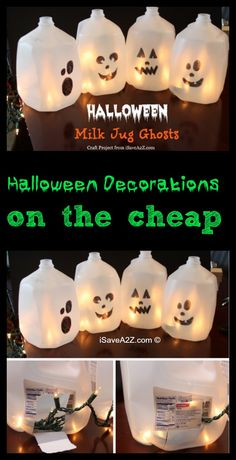 Easy Halloween Craft Ideas: Milk Jug Ghosts - iSaveA2Z.com