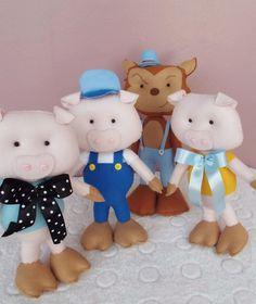 Kit Os Três Porquinhos Bonecos de feltro #feltro #trêsporquinhos #3porquinhos #pig #festa #contos #feltro