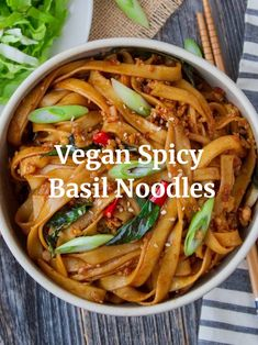 Deliciously spicy with hints of basil, these Spicy Basil Noodles are an amazing addition to your dinner table. Try them tonight! Vegan Dinner Recipes, Whole Food Recipes, Vegetarian Recipes, Healthy Recipes, Vegan Foods, Vegan Dishes, Fodmap, Clean Eating Snacks, Healthy Eating