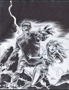 Frankenstein vs Girl Comic Art