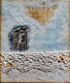 "Johwey Redington Recollections Series Opus 2, No. 5 (""Two Charming Women"") encaustic mixed media on braced wood 8"" x 10"" x 1"""