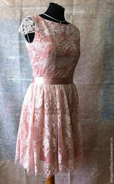 Пудровое платье. Handmade.