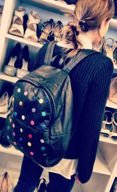 Leather polka-dot backpack, 2014 Fashion Polka Dot Backpack For Students, DIY Polka Dot Backpack For Students  www.loveitsomuch.com