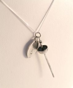 Fencing Necklace Epee / Allez Silver Necklace. by Kickrox on Etsy
