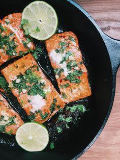 Honey Cilantro Lime Salmon - Gimme The Lo Down Avocado Oil, Palak Paneer, Cilantro, Salmon, Lime, Honey, Stuffed Peppers, Fresh, Ethnic Recipes
