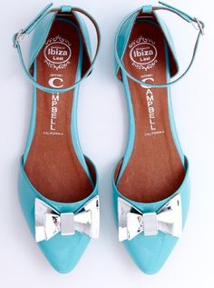 Turquoise Bow Flats / jeffrey campbell