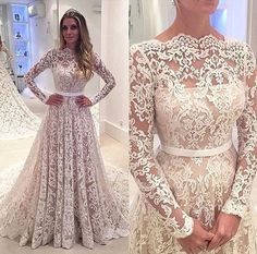 Gorgeous Long Sleeves Lace Affordable Long Evening Prom Dresses, BG51537