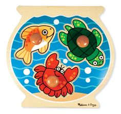 Melissa and Doug Personalized Fish Bowl Jumbo Knob Puzzle - Visually stimulate your tot with this Melissa and Doug Personalized Fish Bowl Jumbo Knob Puzzle . It features 3 amusing sea creature puzzle pieces that. Toddler Toys, Baby Toys, Kids Toys, Toddler Stuff, Wooden Puzzles, Jigsaw Puzzles, Kite Shop, Barnyard Animals, Developmental Toys