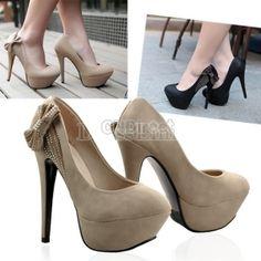 New Sexy Women Lady's Luxury Sexy High Heels Platform Pump Stiletto Shoes Bowknot Pattern