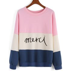 SheIn(sheinside) Colour-block Round Neck Letters Print Sweatshirt ($19) ❤ liked on Polyvore featuring tops, hoodies, sweatshirts, sweaters, blusas, sheinside, multicolor, long sleeve pullover, pink top and pullover sweatshirts