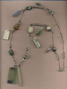 Ruth Anderson: Yu: sterling wire, nephrite and serpentine beads & dangles