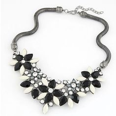 17KM Brand Designer Retro Style Colorful Gem Rhinestone Flower Choker Necklace Statement Jewelry
