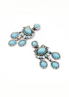 Hidden Treasure Statement Earrings In Baby Blue