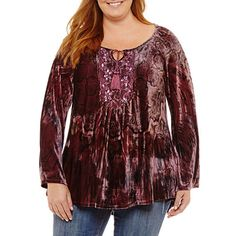 f791f9a41ea Buy Unity World Wear Long Sleeve Scoop Neck Velvet Peasant Blouse-