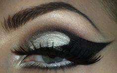 Silver Eyeshadow with Black Eyeliner [Gaga Inspired]