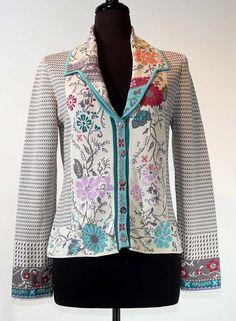 SALE IVKO Jacquard Jacket Floral, Pepita Pattern, L(40)