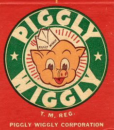 """I always get questions about my reusable bags from Piggly Wiggly. First Self-Service Grocery Store, """"Piggly Wiggly"""", Since 1916 Pub Vintage, Vintage Signs, Vintage Tools, Vintage Stuff, My Childhood Memories, Sweet Memories, Kitsch, Piggly Wiggly, Cartoon Photo"""