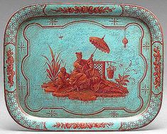 Toleware refers to items made of tin ware that were japanned or lacquered, and adorned with a picture or design. Learn more about three types of tole. Rustic Design, Rustic Decor, Painted Trays, Painted Metal, Interior Design Advice, Shops, Chinoiserie Chic, Quiz, Asian Decor
