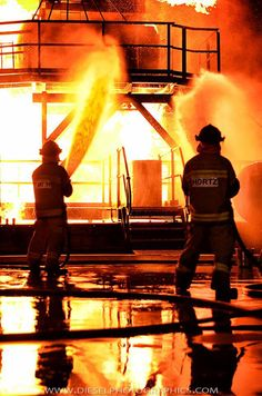 Training to be heroes - firefighter recruits at the live fire campus of the Queensland Fire and Rescue Service in Brisbane, Australia.