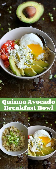 Quinoa Avocado Breakfast Bowl…A vegetarian breakfast bowl full of healthy fats and protein! 316 calories and 9 Weight Watchers SmartPoints (Vegetarian Breakfast Recipes) Avocado Breakfast, Vegetarian Breakfast, Breakfast Bowls, Best Breakfast, Breakfast Recipes, Vegetarian Recipes, Cooking Recipes, Healthy Recipes, Breakfast Ideas