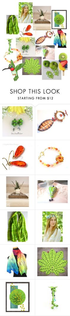 """""""Orange and Green Mix"""" by anna-recycle ❤ liked on Polyvore featuring modern, rustic and vintage"""