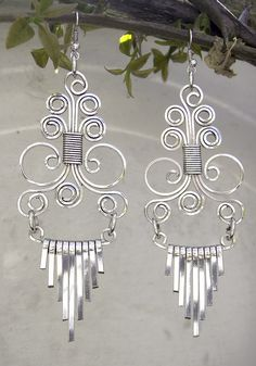 Earrings Masterpiece silverplated wire by PDFPatternDesign, via Flickr