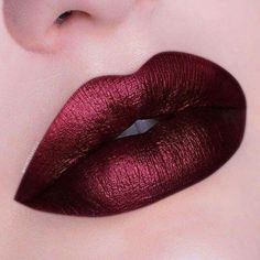 Shiny Burgundy Red Lips Lip Make up Burgundy Lipstick, Metallic Lipstick, Lipstick Art, Lipstick Shades, Lip Art, Lipstick Colors, Liquid Lipstick, Lip Colors, Cheap Lipstick
