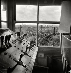 November 1942. Chicago, Illinois. South classification yard seen from retarder operators tower at an Illinois Central Railroad yard. Medium format nitrate negative by Jack Delano