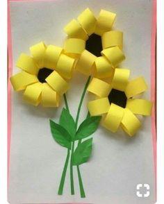 Gorgeous folded paper sunflower craft that makes a perfect summer kids craft, fun flower crafts for kids and paper crafts for kids. Spring Crafts For Kids, Paper Crafts For Kids, Summer Crafts, Fun Crafts, Art For Kids, Diy And Crafts, Arts And Crafts, Summer Art, Creative Crafts