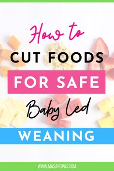 See how to cut and cook foods for safe baby-led weaning with this baby led weaning guide. Many parents are unsure of what size or shape to cut food so that the pieces are big enough for their baby to pick up, but still small enough to be safe. Find out how to prepare and cut foods so that they are the right size and texture for your baby to pick up and chew. #weaning #babyled #babyledweaning #foodsafety #babyfood Baby Led Weaning Breakfast, Baby Led Weaning First Foods, Weaning Foods, Baby Weaning, Toddler Dinner Recipes, Healthy Toddler Meals, Toddler Snacks, Baby Food Recipes, Weaning Plan
