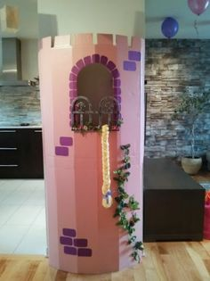Rapunzel cardboard tower