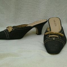 "Bisou Bisou Dark Denim Heeled Slides 8 M Very good, clean condition. Approx 2"" heel, some wear to genuine leather soles, uppers near mint.  Thanks for looking, any questions, please ask. Bisou Bisou Shoes Mules & Clogs"