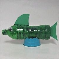 Recycled Water Bottle FIsh:  The preschool children would love making a fish from a recycled water bottle.  They could be taught about recycling and being careful to not litter to keep all animals healthy.  The children could create any kind of fish using any materials they would like to use.  These fish could be used as props while singing fishy songs.